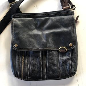 Fossil black leather crossbag